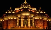Evening view of Akshardham temple, Delhi, India.